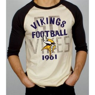 Junk Food Minnesota Vikings Rookie Raglan Quarter Sleeve T Shirt   Tan/Black
