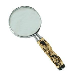 "3D Dragon Design Hand Held Magnifying Glass, Sculptural Dragon Design, 5x Magnification, 2.5"" Diameter x 6.00"" Length, Black and Antique Gold, Comes with Gift Box (L21203M)"
