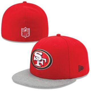 Mens New Era Scarlet San Francisco 49ers 2014 NFL Draft 59FIFTY Reflective Fitted Hat