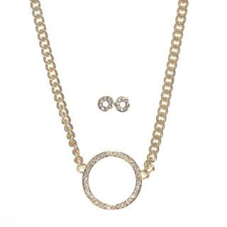 "16"" Bright Gold Tone Chain Link Necklace with a 2"" Extension Featuring a 1"" Crystal Clear Rhinestone Studded Circle. Comes with Matching 1/4"" Stud Donut Shaped Earrings Accented with Crystal Clear Rhinestones. Jewelry"