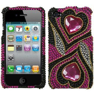 Hard Plastic Snap on Cover Fits Apple iPhone 4 4S Hot Pink Hypnotic Hearts Full Diamond/Rhinestone Plus A Free LCD Screen Protector AT&T, Verizon (does NOT fit Apple iPhone or iPhone 3G/3GS or iPhone 5/5S/5C) Cell Phones & Accessories
