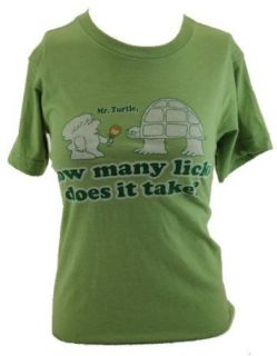"Tootsie Roll Pop Mens T Shirt   ""Mr. Turtle, How Many Licks Does it Take?"" Distressed Image on Brown (X Small) Clothing"