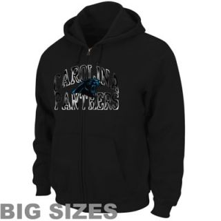 Carolina Panthers Big Sizes Touchback Full Zip Fleece Hoodie   Black