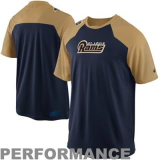Nike St. Louis Rams Fly Slant Performance T Shirt   Navy Blue/Gold
