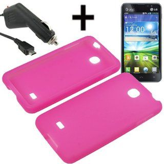 AM Soft Silicone Sleeve Gel Cover Skin Case for AT&T LG Escape P870+ Car Charger Magenta Pink Cell Phones & Accessories