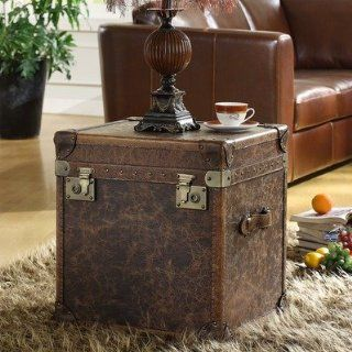 Steamer Leather Storage Cube End Table