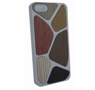 New Hard Case with Wood Effect   Iphone 5 Hard Silicone Case with Multi coloured Wood Effect (White)+free the American flag protective film for iphone5,by aimmi Cell Phones & Accessories