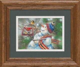 Snow Lady Snowman Bird Feeder by Janene Grende Great Northern Art Mini Framed Print Open Edition