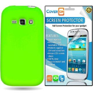 CoverON� Samsung Galaxy Ring / Prevail 2 Silicone Rubber Soft Skin Case Cover Bundle with Clear Anti Glare LCD Screen Protector   Neon Green Cell Phones & Accessories