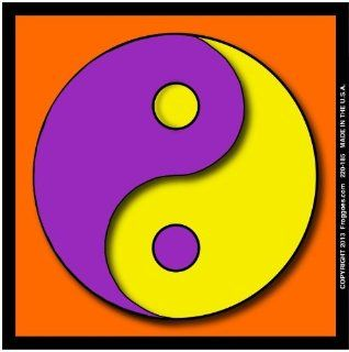 "YING YANG   PURPLE/YELLOW WITH ORANGE BACKGROUND   STICK ON CAR DECAL SIZE 3 1/2"" x 3 1/2""   VINYL DECAL WINDOW STICKER   NOTEBOOK, LAPTOP, WALL, WINDOWS, ETC. COOL BUMPERSTICKER   Automotive Decals"