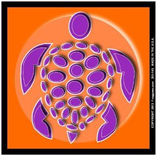 "SEA TURTLE   PURPLE/ORANGE   STICK ON CAR DECAL SIZE 3 1/2"" x 3 1/2""   VINYL DECAL WINDOW STICKER   NOTEBOOK, LAPTOP, WALL, WINDOWS, ETC. COOL BUMPERSTICKER   Automotive Decals"