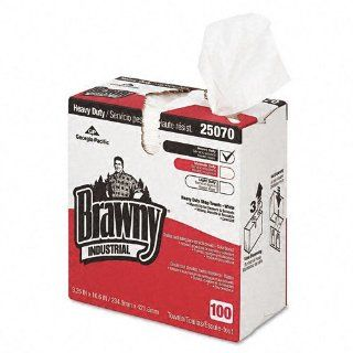 Georgia Pacific Products   Georgia Pacific   Brawny Industrial Heavy Duty Shop Towels, Cloth, 9 1/8 x 16 1/2, 100/Box   Sold As 1 Box   Multi use shop towels made from super strong fibers resist tears and stand up to tough industrial cleaning.   Wipers hol