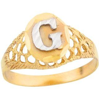 10k Two Tone Gold Diamond Cut Letter G Filigree Design 1.2cm Initial Ring Jewelry