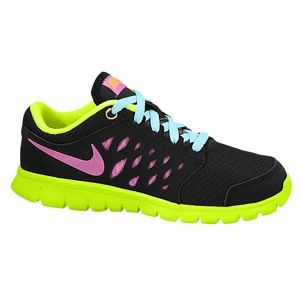 Nike Flex Run 2013   Girls Preschool   Running   Shoes   Black/Glacier Ice/Volt/Red Violet