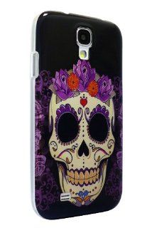 FunFunCom   Tattoo Skull on Black Background, Snap on Hard Phone Case / Back Cover, for Samsung Galaxy S4 / S IV / i9500, with Superior Quality Screen Protector Cell Phones & Accessories