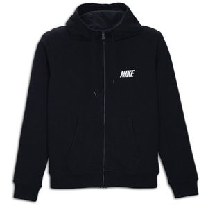 Nike Club Swoosh Full Zip Hoodie   Mens   Casual   Clothing   Dark Obsidian/Anthracite/White