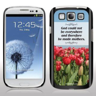"Samsung Galaxy S3 Case   Mother's Day Gift   ""God could not be everywhere""   Black Protective Hard Case Cell Phones & Accessories"