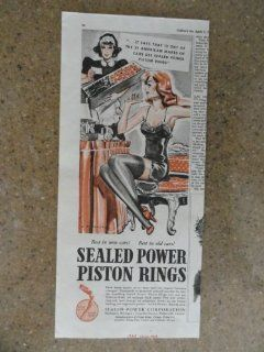 Sealed Power Piston Rings, Vintage 30's print ad (girl in under wear getting flowers) Original vintage 1938 Collier's Magazine Print Art.