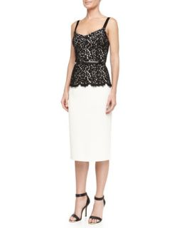 Womens Belted Lace Top Sheath Dress, Ivory/Black   Michael Kors   Ivory (10)
