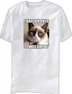 Grumpy Cat I Had Fun Once It Was Awful Adult White T Shirt Clothing