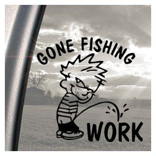 Funny Gone Fishing Black Decal Car Truck Window Sticker   Automotive Decals