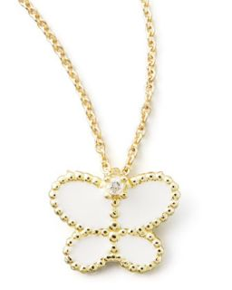 Yellow Gold Diamond White Butterfly Pendant Necklace   Roberto Coin   Yellow