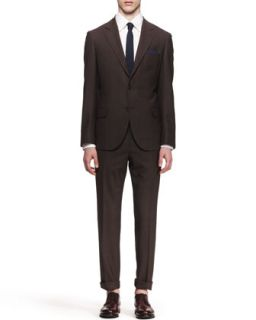 Mens Three Button Check Suit, Brown   Brunello Cucinelli   Brown (54)
