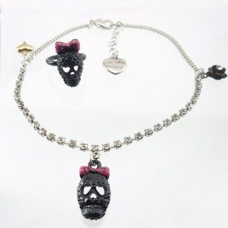 DaisyJewel Exclusive Betsey Johnson Black Pink Silver Skull Adjustable Crystal Anklet & Toe Ring Set Betsey Johnson Jewelry