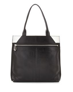 Cruz Colorblock Leather Tote Bag, Black/White   Botkier