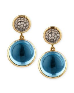 Baubles Big Diamond & Blue Topaz Earrings   Syna   Blue