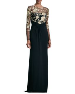 Womens Long Sleeve Lace Overlay Gown   David Meister   Black/Gold (8)