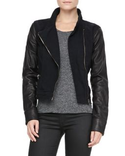 Womens Canvas Leather Moto Jacket   rag & bone/JEAN   Black canvas (SMALL)