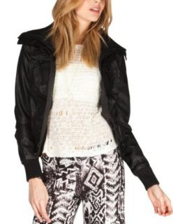 Full Tilt Women's Sweater Collar Faux Leather Jacket