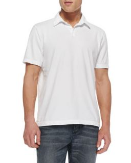 Mens Sueded Jersey Polo Shirt, White   James Perse   White (2)