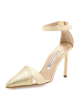 Mattick Point Toe Metallic Pump, Gold   Manolo Blahnik   Gold (40.5B/10.5B)