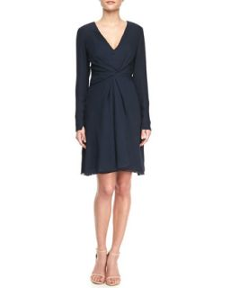 Womens Long Sleeve Chiffon Dress   J. Mendel   Navy (10)