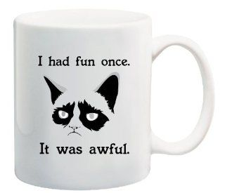 "Grumpy Cat ""I Had Fun Once   It Was Awful"", Coffee Mug   11 Oz Mug   Nice Motivational And Inspirational Office Gift Kitchen & Dining"