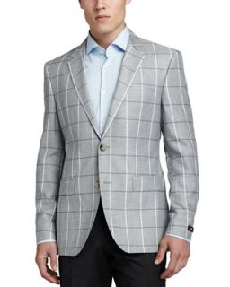 Mens Windowpane Check Suit Jacket, Gray/White   Boss Hugo Boss   Grey/White