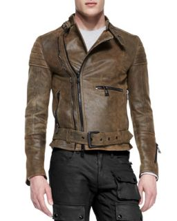 Mens Distressed Leather Moto Jacket, Brown   Belstaff   Brown (48)