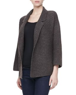Womens Long Sleeve Ribbed Cardigan Sweater, Gray/Brown   Halston Heritage