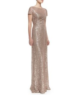 Womens Short Sleeve Sequined Lace Gown, Mauve/Silver   David Meister