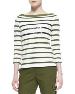 Womens long sleeve striped tee with sequins   kate spade new york   Nturl/Alma