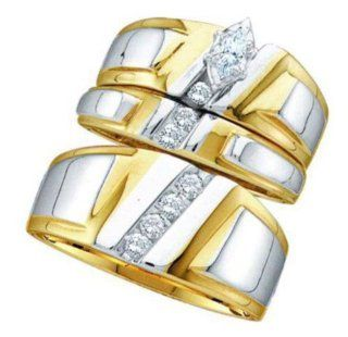 0.25 cttw 14k Yellow Gold Diamond Marquise Engagement Ring and Wedding Band Set Trio His and Hers Channel Setting (Real Diamonds 1/4 cttw, Ring Sizes 4 13) Jewelry