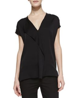 Womens Silk Cascade Cap Sleeve Blouse   Vince   Black (SMALL)