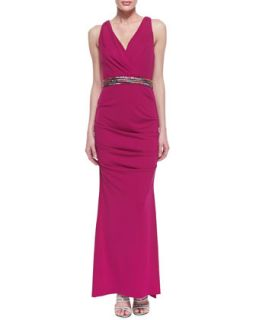 Womens Sleeveless Ruched Hip Gown with Belt, Pink Berry   Nicole Miller