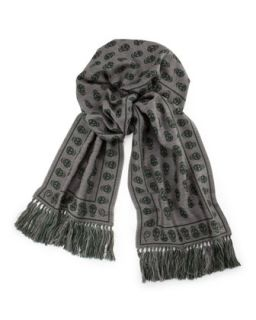 Mens Wool Reverse Skull Scarf, Gray/Green   Alexander McQueen   Grey/Green