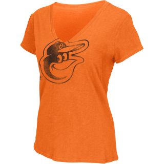 G III Womens Baltimore Orioles Logo Slub V Neck Short Sleeve T Shirt   Size