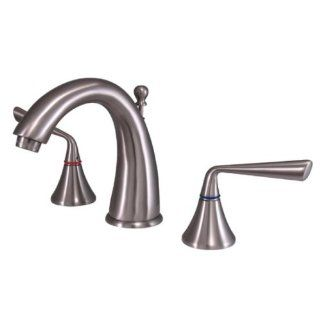 Kingston Brass KS2978ZL Silver Sage Widespread Lavatory Faucet with Brass Pop Up, Satin Nickel   Touch On Bathroom Sink Faucets