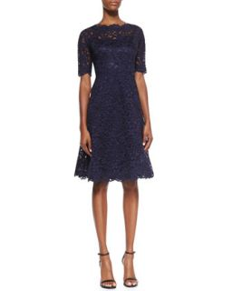 Womens Lace Overlay Cocktail Dress   Rickie Freeman for Teri Jon   Navy (2)