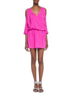 Womens Cold Shoulder Draped Silk Dress, Hot Pink   Amanda Uprichard Loves Cusp
